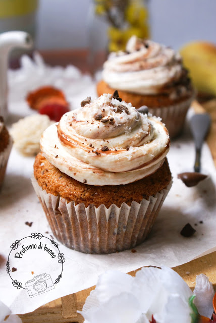 Gluten free chocolate coconut muffin with cream cheese frosting