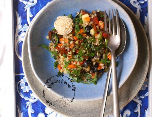 Buckwheat and basil vegan salad