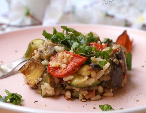 Roasted veggies gluten free grain salad