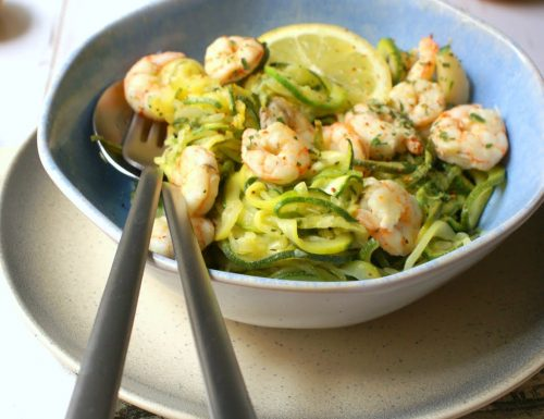 Gluten free zoodles and shrimp