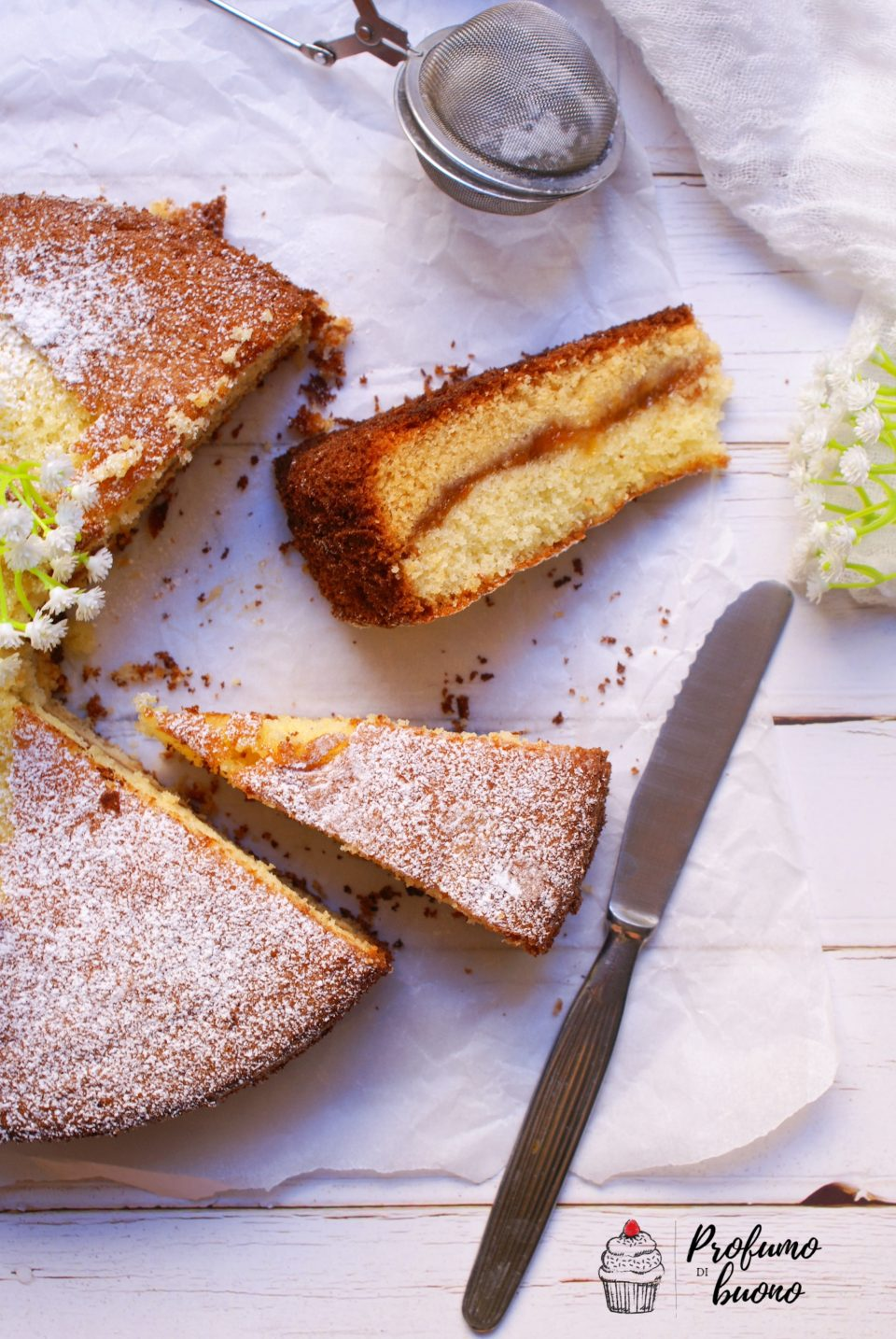 Torta versata senza glutine alla marmellata di albicocche ricoperta di zucchero a velo