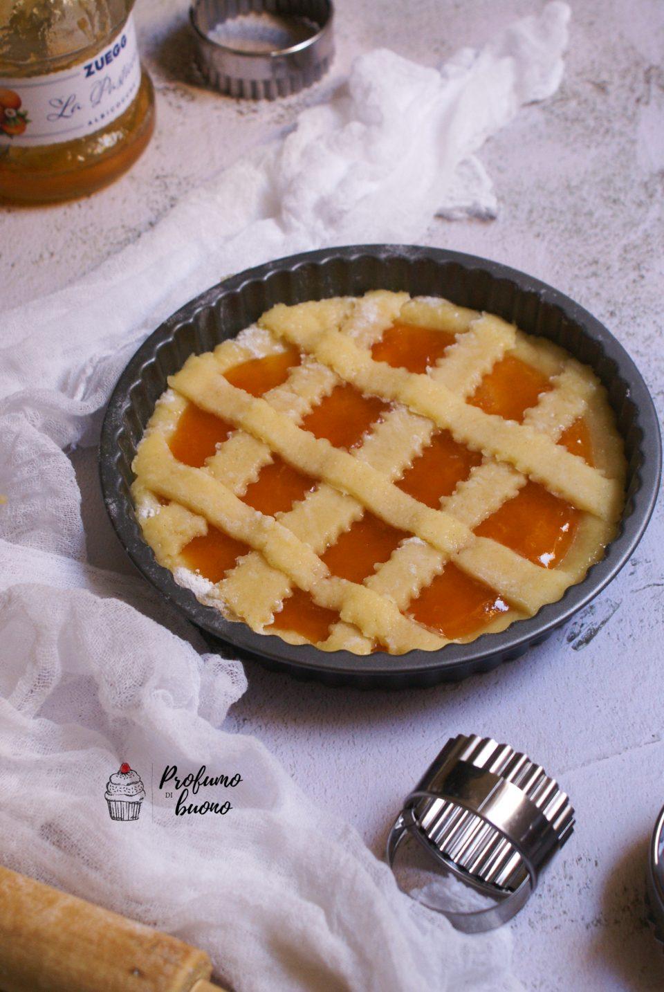 Crostata senza glutine e senza burro con marmellata di albicocche