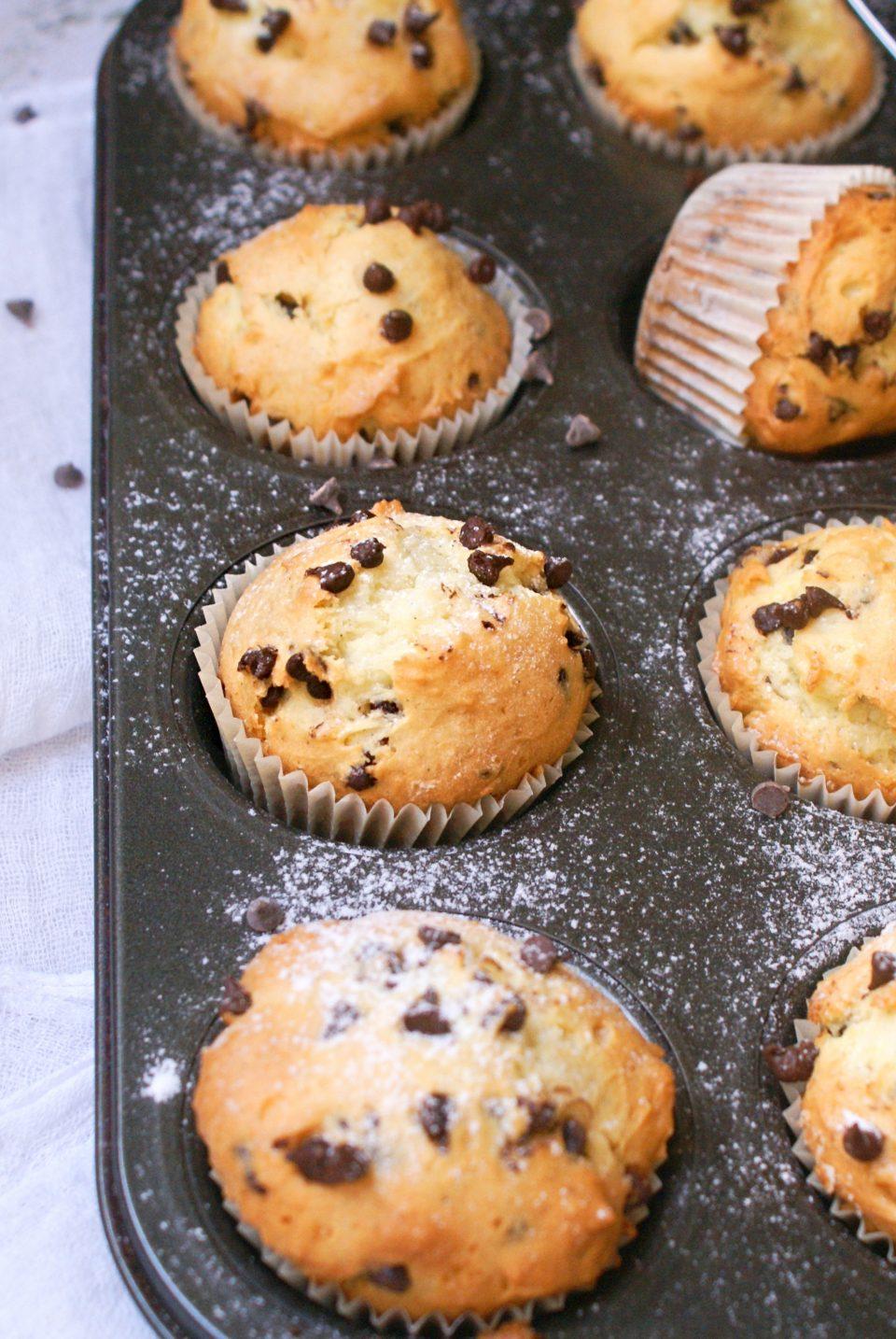 Muffin senza glutine con gocce di cioccolato