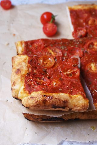 Gluten free pizza with tomato sauce
